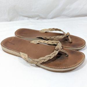 Olukai Leather Braided Flip-flop Sandals